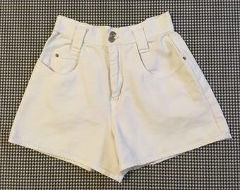 1990's, high waist, white, denim shorts, by nada nuff, Women's size 7