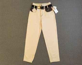 1990's, high waist, belted, jeans, in grainy cream, with abstract tribal, trim, Women's size 9
