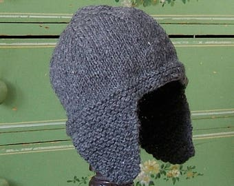 Kids Earflap Hat, Alpaca Wool Hand Knit Musher Cap for Children, Baby Winter Hat