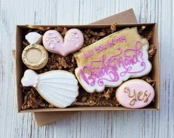 Will you be my bridesmaid Cookies / Will you be my maid of honor Cookies - Custom Sugar Cookies - Wedding Cookies
