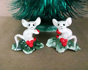 Vintage Christmas Candle Climbers, 1950's Holt Howard Mice, Mouse Candle Climbers, Candle Rings, 1950's Christmas Decor, Christmas Mouse