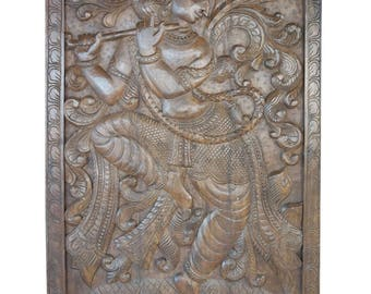 Dancing Krishna Handcarved  Vintage Fluting Krishna Wall Sculpture , Panel, Barn Door, Yoga Decor