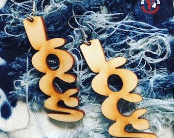 LOCS Earrings Custom - Wooden Earrings Natural Hair Life - Women Girls Pierced Unique Dreadlocks - All Colors