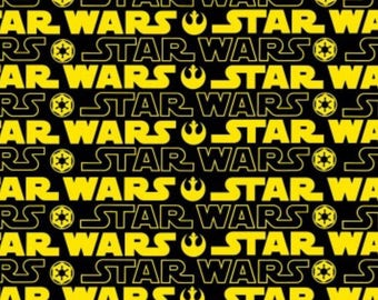 Star Wars Yellow and Black Logo Yard of Fabric Cotton Star Wars Fan I Love Star Wars Star Wars Movie