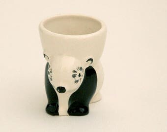 Vintage ceramic panda bear-shaped egg cup