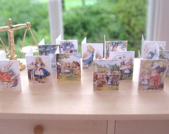 greeting cards alice inspired x 12 dollhouse miniatures