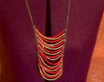 Beaded Necklace- Red and Gold