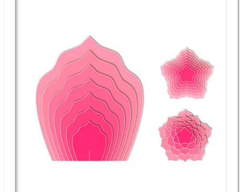 3D Giant flowers petals Templates - cutting file in SVG, STUDIO, PDF formats