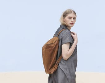 Sale, Brown Leather Backpack,  Women Travel Bag, School Bag, Honey Brown Leather Bag, Handmade - Honey Brown Lou