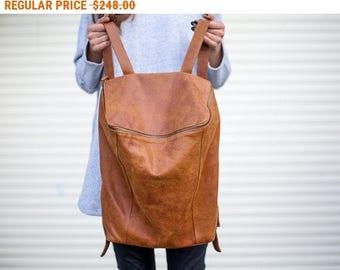 Sale, Honey Brown Leather Backpack, Laptop Bag, Messenger Bag, School Bag, Brown Leather Bag, Unisex