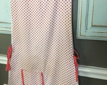Vintage apron, vintage linens, apron, polkadot, full length apron