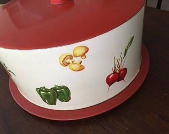 Cake carrier, cake cover, decoware, vintage cake carrier, metal cake carrier, vegetables, vintage kitchen
