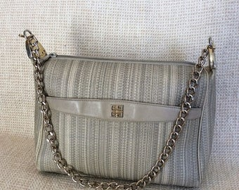 15% SUMMER SALE Genuine vintage Givenchy taupe chain link shoulder bag purse