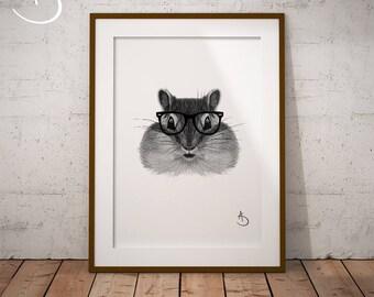 CUTE HIPSTER CHIPMUNK Drawing download, Chipmunk, Hipster Chipmunk Print, Printable Chipmunk Poster, Printable Decor, Hipster Animal Print