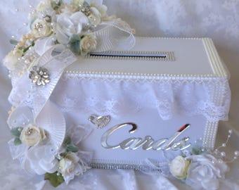 Wedding card box, white wedding card box, secure card box money gift holder