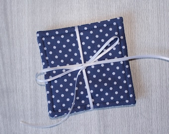 Gray and Blue Cloth Drink Coasters - Cloth Coasters - Fabric Coaster Set