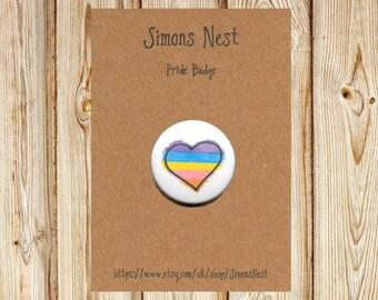 "Gender Non Binary Pride Rainbow Heart Badge - LGBT 25mm 1"" Button Pin Badge - Hand Drawn Rainbow LGBTQ Love Heart Flag Accessory"