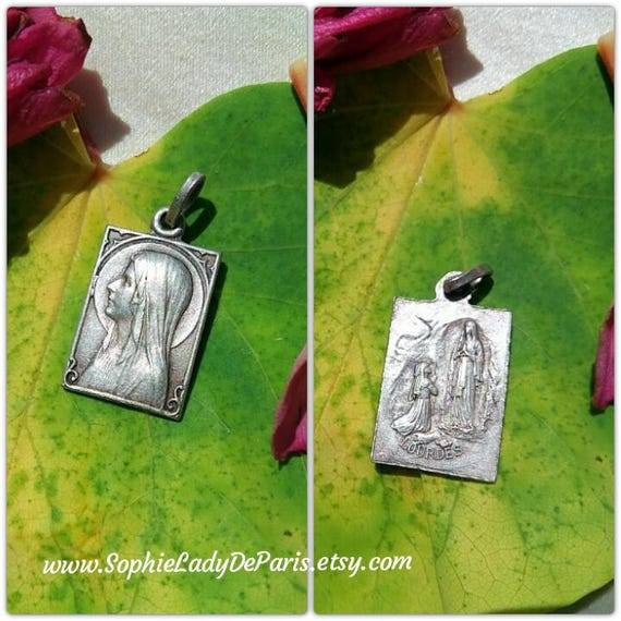 Antique Our Lady of Lourdes Medal French Square Silver Virgin Mary Pendant Holy Bernadette Prayers Religious Charm #sophieladydeparis