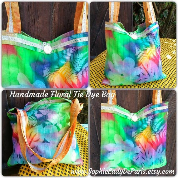 Green Floral Batik Bag Handmade French Tie Dye Purse with Antique Lace Mop Button Orange Ribbon Handles  #sophieladydeparis