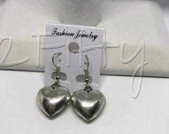 E3A Puffy Heart Earrings with Nickel Free Hooks