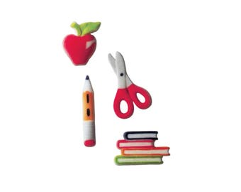 15 School Assortment Molded Sugar - Pencil Scissors Apple Teacher First Last Day - Cake / Cupcake Topper Decorations