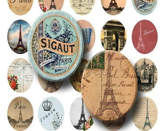 SALE- Paris Ephemera - Digital Collage Sheet   - 30x40mm Ovals - INSTANT DOWNLOAD