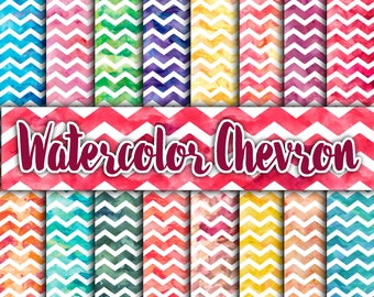 WaterColor Chevron Digital Paper Textures - Watercolor Backgrounds - 16 Designs - 12in x 12in - Commercial Use - Instant Download