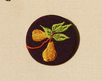 Brooch embroidered pears