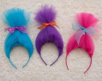 Troll Headbands, Troll Hair, Trolls, Troll Birthday, Troll Party Favor, Troll Birthday Party, Troll, Troll Party, Poppy, Troll Dress Up