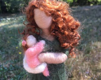 Needle Felted Mother and Daughter, Baby Shower Gift, milestone figure