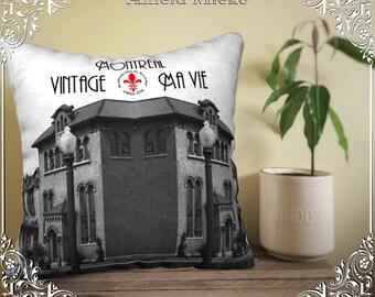 Pillow cover aqueduct de Verdun, Montreal, photo pillow cover Cushion cover, decorative black and white, Deco, vintage decor