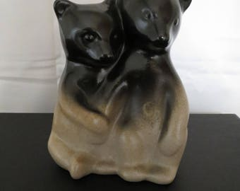 Pigeon Forge Pottery Bear Cubs, Double Bears, Two-Tone Figurine, Sculpture