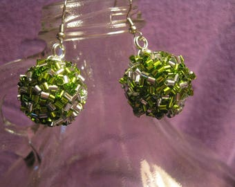 Lime GREEN and SILVER EARRINGS