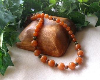 Red Aventurine, Gemstone Beaded Necklace, Handmade Necklace, Artisan Necklace, Boho Necklace, Designer Jewelry, Single Strand Jewelry, Brass