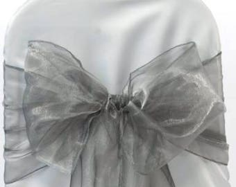 25x Silver Grey Chair Sashes Bow Cover for Wedding Engagement Event Party Reception Ceremony Bouquet