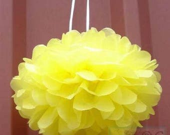 6x Yellow Tissue Paper Pom Poms Wedding Christening Birthday Party Baby Shower Bridal Shower Decoration