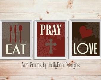 Modern Kitchen Wall Decor-Eat Pray Love Trio Print Set-3 Prints-Inspirational Kitchen Dining Wall Decor-Red Brown Wall Art-Custom Colors