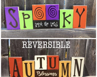 SALE---REVERSIBLE Halloween and Fall wood blocks--Spooky trick or treat reverses with Autumn Blessings, Thanksgiving blocks, Fall bl