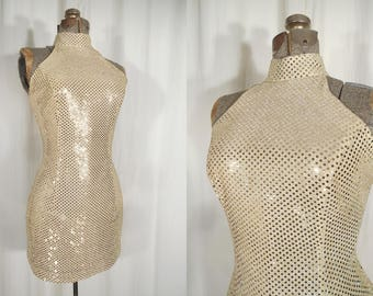 Vintage 1980s Dress | Gold Bias Cut Mini Halter Top Dress | Sequin Pin Up Bombshell Slip Dress | BodyCon Dress
