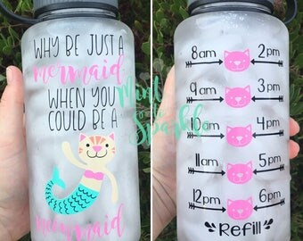 Why be just a mermaid when you can be a meowmaid motivational water bottle with hourly time tracker
