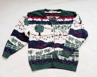 Vintage novelty cardigan | vintage novelty country farm prints cardigan sweater