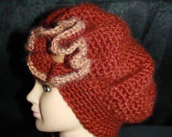 very warm crocheted mohair beret