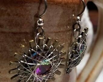 Handmade Earrings - Hypoallergenic Niobium, String Art holding a Vitrail Crystal