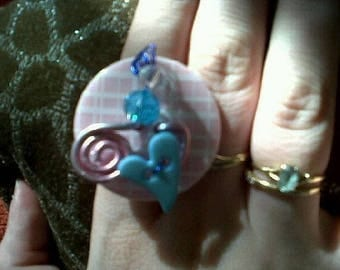 Blue white rose Adjustable ring