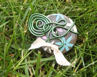 FANCY Brown green flower ring
