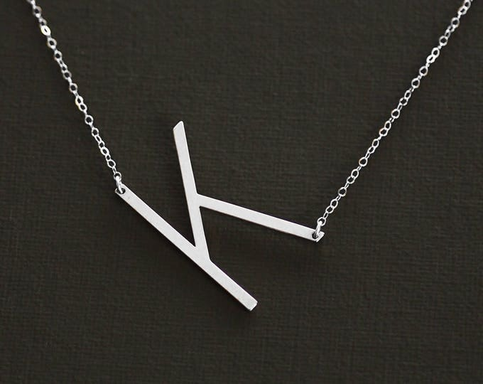 Large Initial Necklace Silver Oversized Letter Necklace