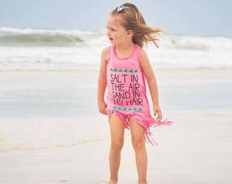 Salt In The Air, Sand In My Hair Fringe Dress Bathing Suit Beach Cover Up Tank Top baby kids  girls toddler