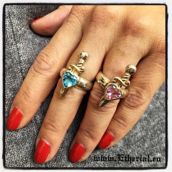 Etherial Jewelry Rock Chic Talisman Luxury Biker Custom Handmade Artisan Pure Sterling Silver .925 Handcrafted Designer Heart Ring with Gem
