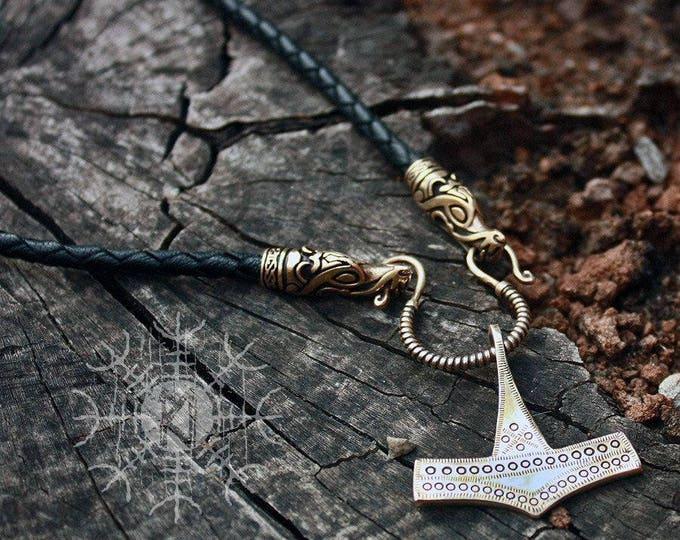 Bronze Thor's Hammer Mjolnir Viking Pendant Handmade Genuine Braided Leather Necklace BM9