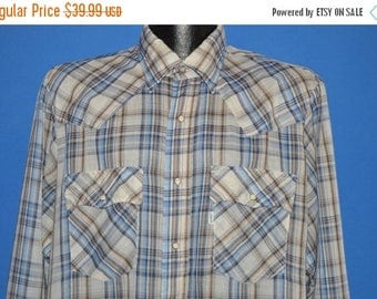 ON SALE 80s Levis White Blue Plaid Western Pearl Snap Shirt Large